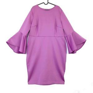 Eloquii bell flare sleeve midi sheath scuba dress